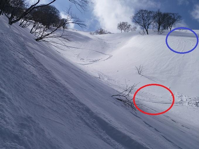 雪崩を避けるために高い場所で止まる写真