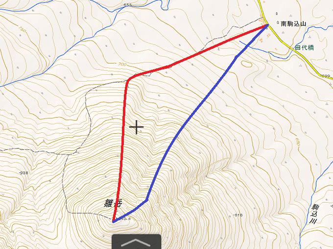 雛岳2つの登りのルートの地図