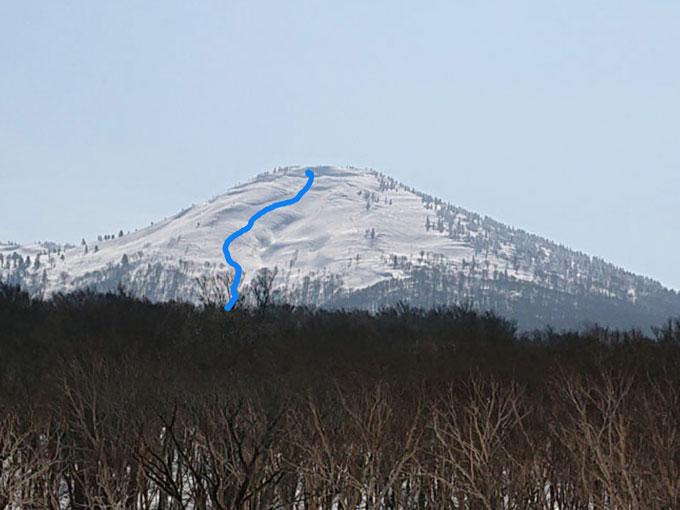 前嶽山頂から滑ったラインの