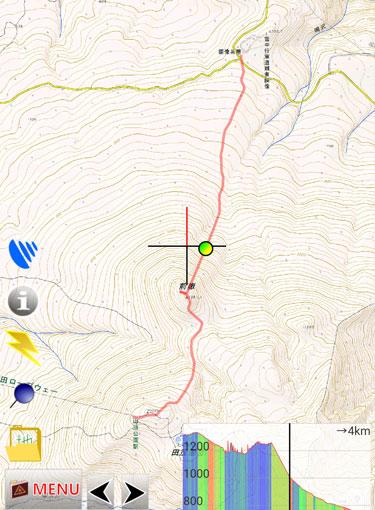 GPSアプリによる軌跡の図