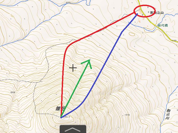 雛岳下りのルートの地図
