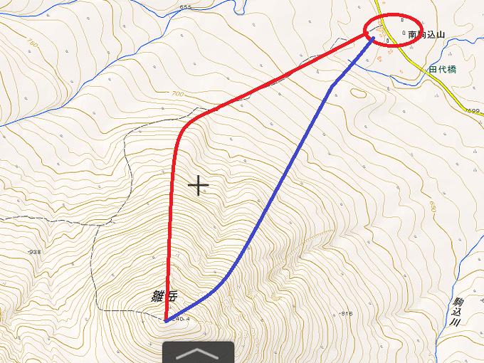 雛岳登りのルートの地図