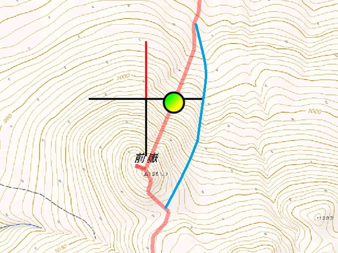 前嶽の斜度の説明の図