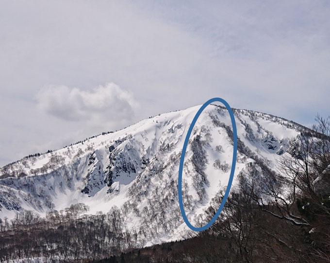 南八甲田赤倉岳 滑った場所